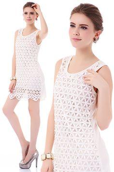 New Lady Women's Summer Wear Hollowed Triangle with Gem Jumper Skirt Dress on AliExpress.com