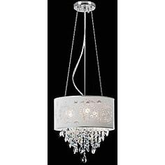 @Overstock - Brighten your home decor with a crystal chandelier  Ceiling fixture has a chrome finish  Three-light chandelier also showcases a silver/grey shadehttp://www.overstock.com/Home-Garden/Crystal-3-light-Silver-Grey-Shade-Chandelier/4512394/product.html?CID=214117 $96.99