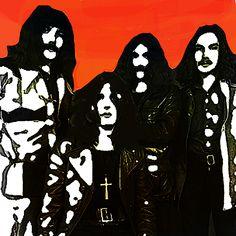 Black Sabbath Portrait by Enki Art Black Sabbath, Rollers, Rock N Roll, Mixed Media, Greeting Cards, Darth Vader, Portraits, Wall Art, Fictional Characters