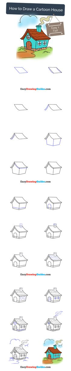 Learn How to Draw a Cartoon House: Easy Step-by-Step Drawing Tutorial for Kids and Beginners. #house #cartoon #drawing #tutorial. See the full tutorial at https://easydrawingguides.com/how-to-draw-a-cartoon-house/