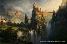 GORGEOUS FICTIONAL LOCATIONS #skycaptainandtheworldoftomorrow ❤ @TheReadingRoom #books #movies #fantasy #bookart #art #graphics #design