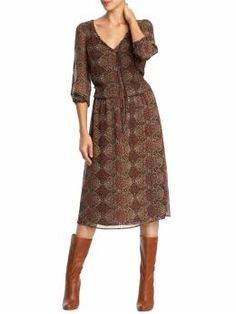 Piperlime: 3/4 Sleeve Boho Print Midi Dress - Like this with the boots