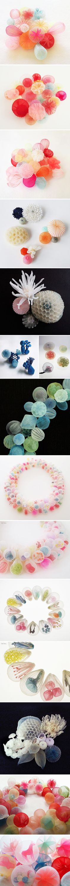 Sculpture? Fabric? Yes and yes… but also… jewelry! What!? This is the delicate, whimsical, gorgeous work of Japanese-born, US-based artist Mariko Kusumoto.