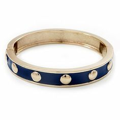 """Royal Blue Enamel Gold Studded Hinged Bangle Bracelet - up to 18cm Length Avalaya. $24.75. Material: enamel. Length: 18.0cm (7.09""""). Metal Finish: gold plated. Occasion: club night out, cocktail party. Wear On: wrist"""