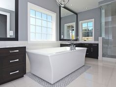 Trickle Creek Homes Next At Home, Home Improvement Projects, Corner Bathtub, Tile, Homes, Interior Design, Nest Design, Mosaics, Houses