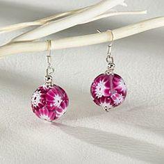 Raspberry Murano Glass Earrings