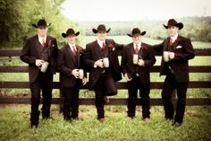 Cowboy groomsmen/throw on some levi's for the reception and we're good! Gotta make the bridesmaids happy you know ; Cowboy Groomsmen, Bridesmaids And Groomsmen, Country Groomsmen, Groom Tux, Groom Attire Black, Groom Outfit, Vestido Charro, Wedding Groom, Cowboy Wedding Attire