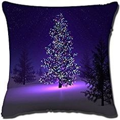 Fashion Cotton Fiber Square Decorative Throw Pillow Cover Colored Drawing Christmas,Beautiful Christmas Tree Purple,18 * 18 Inches by MORE WONDERS