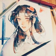 Little wangji - watercolor doodle - 🙇♀️🙇♀️🙇♀️🙇♂️🙇♂️🙇♂️🙈🙈🙈 Watercolor Art Face, Watercolor Background, Watercolor Paintings, Pretty Art, Cute Art, Medusa Art, Anime Poses Reference, Art Anime, Inspirational Artwork