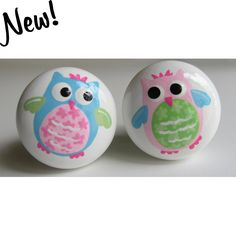 Hand-painted owl drawer knobs will make any bird theme nursery complete.