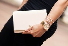 Bag: Tory Burch 'Robinson' Wallet on Chain in Lolita Pink (shop other colors) Watch: Citizen Silhouette Crystal c/o - on sale! Bracelets: t+j designs silver cable (old, current style), Sterling Forever Open Moon Cuff (similar, similar)