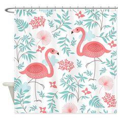 Pink Flamingos Shower Curtain by BestShowerCurtains