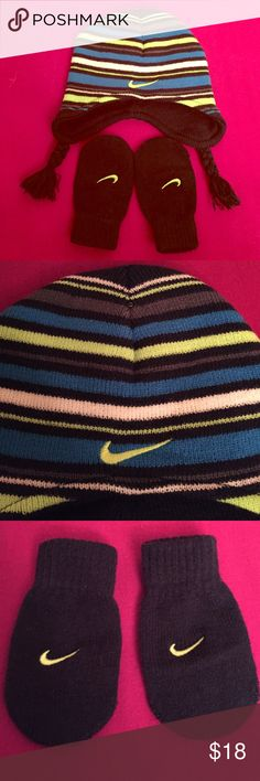 🆕 Only 1! Nike Infant Hat & Mittens Set Authentic Nike Infant Hat & Mittens Set. 12-24 Months. OS. Armory Navy & Striped (Armory Navy, White, Blue, & Volt). Volt Swoosh on Fronts of Hat and each Mitten. Braided Sides. 100% Acrylic. Brand New. Excellent Condition. No Trades. Only Available as a 2-PC Set. Another Color Combo also Available in my closet. See Separate Listing. Nike Accessories Hats
