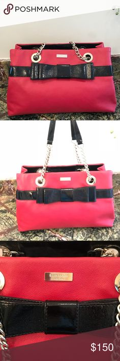 Make an offer! Gently Loved Red Leather Bow Purse Adorable candy apple red Shoulder Bag with black bow and chain shoulder straps. Bottoms corners show some signs of wear shown in photos, gold hardware has slight scratches shown in photos as well. Interior perfect condition. Open to reasonable offers! Bundle for a private discount and save on shipppng! kate spade Bags Shoulder Bags