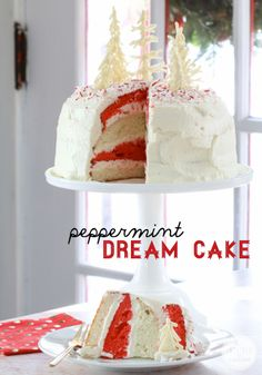 Peppermint Dream Cake with a White Chocolate Forest Topper.