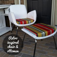 -Beautiful design <br>-Curved chrome legs <br>-Gray, mustard, red and white striped fabric <br>-Armchair & matching ottoman