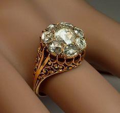 Georgian Rose Cut Diamond Cluster Ring circa 1820 - Antique Jewelry   Vintage Rings   Faberge Eggs