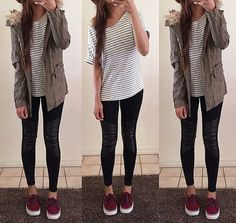 Maroon Vans, black skinny jeans, white and black striped shirt, jacket.. fall outfit                                                                                                                                                      More