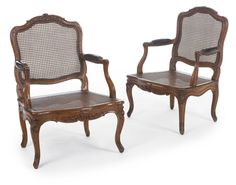 c1760 A pair of Louis XV caned carved walnut fauteuils circa 1760, Stamped P. Pluvinet Estimate  12,000 — 18,000  USD. unsold