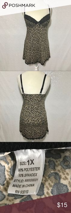 "Animal print lingerie size 1X Built in bra with lace overlay trim. Adjustable straps. Armpit to armpit flat measures approximately 16"" and length 29.""  Colors may vary slightly to lighting and photos. No holes, rips or stains. Measurements approximately as shown. ❌Smoke and pet free home. ⚡️Same/next day shipping. 💲Save by bundling or make a reasonable offer through the offer button. 🚫No holds, trades or modeling. 📦Wrapped and shipped with care. Intimates & Sleepwear Pajamas"