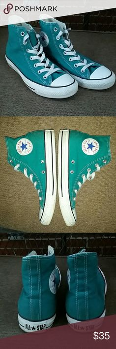 Teal Hightop Converse Barely worn, good condition, make an offer! They want to be worn! Converse Shoes Sneakers