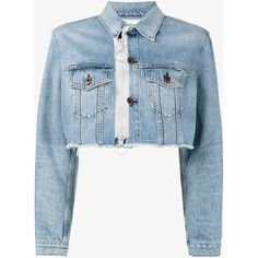 Off-White Cropped Zip Denim Jacket ($855) ❤ liked on Polyvore featuring outerwear, jackets, cotton jacket, cropped jean jacket, zipper collar jacket, denim jacket and collar jacket