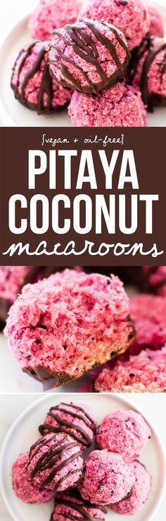 Pitaya Pink Coconut Macaroons {vegan, gluten-free, & oil-free}