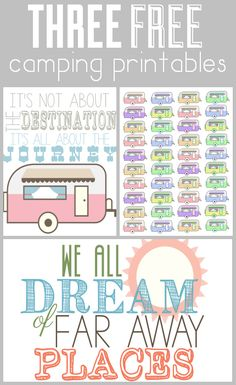 a set of free camping and vacation printables