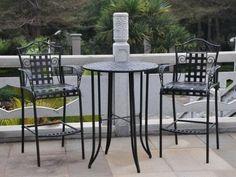 Outdoor Bistro Set - 3 Piece Patio Furniture Set (Black Pewter) pool patio - Patio & Garden Furniture Sets
