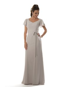Modest long gown with flutter sleeves and sweetheart neckline. Long chiffon tie waistband. Zipper back.     Fabric(s): Chiffon  Color Available: All Current Chiffon Colors  Size: 0 to 28