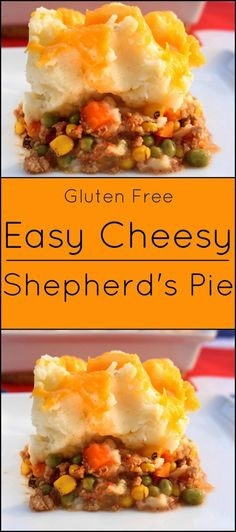 Easy, Cheesy Shepherds Pie is a traditional British dish. Substitute ground beef or turkey for ground lamb. Ground Beef Recipes, Turkey Recipes, Meat Recipes, Cooking Recipes, Healthy Recipes, Recipies, Hamburger Pie Recipes, Healthy Meals, Healthy Eating