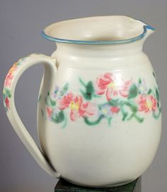 Hand Made Floral Art Pottery Pitcher Signed Cloud Folsom