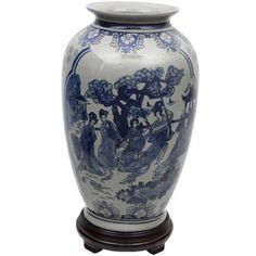 14-Inch Blue and White Porcelain Tung Chi Vase (China)
