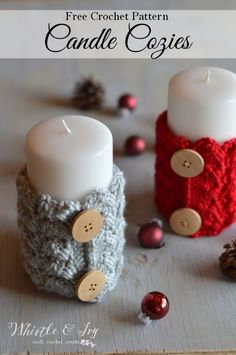 Crochet Candle Cozies - Whistle and Ivy Christmas Crafts 2016, Crochet Christmas Decorations, Christmas Crochet Patterns, Holiday Crochet, Christmas Tables, Nordic Christmas, Modern Christmas, Holiday Crafts, Crochet Cozy