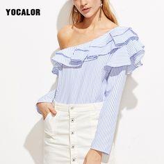 YOCALOR Strapless Off Shoulder Striped Long Sleeve Shirt Ruffle sexy Blouse Women Blouses Tops Body Croped Feminino Peplum #Affiliate