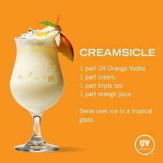 Creamsicle Cocktail - 1 part UV Orange Vodka, 1 part cream, 1 part triple sec, 1 part orange juice. Serve over ice in a tropical glass.