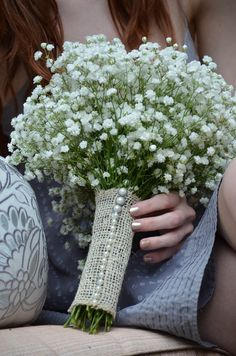 Baby's breath bouquet, burlap wrapped, wedding day, bridesmaids