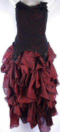 Gothic Burgundy Lace Gown! Prom! Wedding! Steam Punk! Bridesmaid! Pinup! | eBay