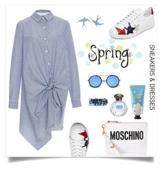 """""""Casual chic"""" by tato-eleni ❤ liked on Polyvore featuring Moschino, Sephora Collection, ZeroUV, Lydell NYC and Topshop"""