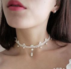 handmade ivory white Lace Victorian Wedding Bridal choker Gothic Vintage style necklace with length adjustment Chocker Necklace, Bridal Necklace, Wedding Jewelry, Chokers, Wedding Necklaces, Pearl Necklace Wedding, Collar Necklace, Lace Jewelry, Jewelery