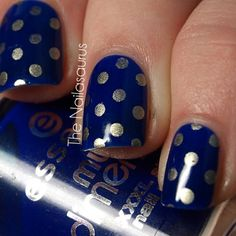 Blue but do only one finger with gold polka dots