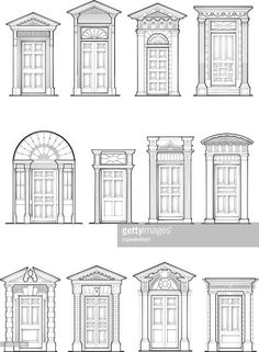 architecture - A selection of Georgian front door details Architecture Classique, Detail Architecture, Georgian Architecture, Classic Architecture, Architecture Drawings, Georgian Buildings, Architectural Columns, Architectural Features, Door Design