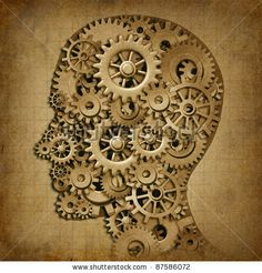 stock photo : Human brain intelligence grunge machine medical symbol with old texture made of cogs and gears representing strategy and psychological mental neurological activity.