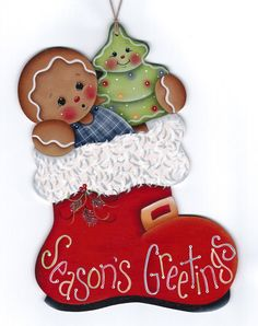 Seasons Greetings Santa Boot Painting por GingerbreadCuties en Etsy