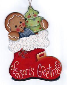 Seasons Greetings Santa Boot Painting por GingerbreadCuties en Etsy