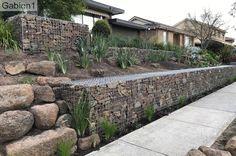 Terraced Landscaping, Landscaping On A Hill, Landscaping Retaining Walls, Landscaping Ideas, Courtyard Design, Garden Design, Gabion Retaining Wall, Gabion Baskets, Diy Garden Projects