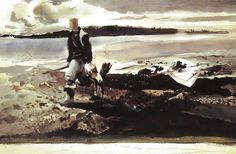 """Andrew Wyeth, The Coot Hunter, 1941 In 1942 American Artist Magazine introduced the Andrew Wyeth as """"One of America's Youn. Andrew Wyeth Prints, Andrew Wyeth Paintings, Andrew Wyeth Art, Jamie Wyeth, Nc Wyeth, Art Periods, Winslow Homer, Art Institute Of Chicago, Art Music"""