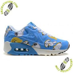 new arrival ee062 02059 Air Max 90 chaussure enfants nike Snoopy Bleu Blanc
