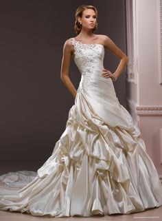 Satin One-shoulder Neckline A-line Wedding Dress