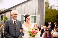 The #happy #bride + her #father approach the groom with #bigsmiles! ::Jennie + Tyler's waterside wedding in Castine, Maine:: #weddingceremony #walkingtheaisle #FOB #daddy #firstlove